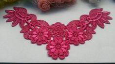 Bright pink venice antique lace applique collar, white flower bridal lace