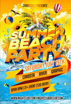 """Summer Beach Party Flyer Template - http://www.ffflyer.com/summer-beach-party-flyer-template/ Summer Beach Party Flyer Template is very modern psd flyer that will give the perfect promotion for your upcoming event or club parties! 1 PSD file 4×6"""" size with 0.25"""" bleeds Simple and easy to work with CMYK/300dpi and Ready to print Very well organised and layers named appropriately Easy colour and text replacement except 3D text.    #Beach, #Club, #Dance, #Dj, #Party, #P"""