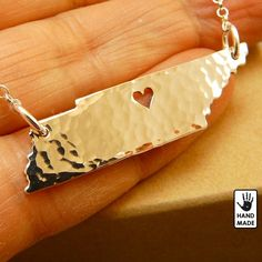 Tennessee State , solid sterling silver necklace , sterling silver chain, custom heart