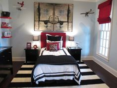 Love this Big Boy room. The rug makes the whole room pop!