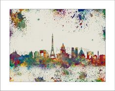 Cities by Maryna on Etsy Paris Poster, Paris Map, Paris City, Paris France, Skyline Painting, Map Painting, Canvas Paintings, Splatter Art, Decoupage