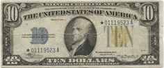 10 Dollars 1934A (Hamilton) Silver Certificate ``Ersatznote´