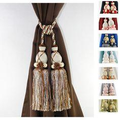 Aurora Home Knitted Duel-head Curtain Tassel Tie-backs (Set of 2)