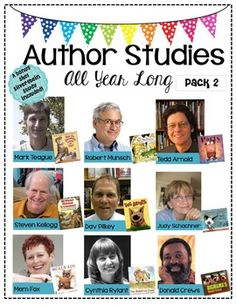 Author Studies All Year Long-Pack 2 Back by POPULAR demand!  9 authors + 1 BONUS Shel Silverstein study This pack includes:  •Black or white version for your preference •Labels for all 10 authors •Ideas for displaying each author •High quality graphics if you prefer to project using a projector  Each author study includes: •3 slides -An author pictures slide, biography/fun facts slide, & a published books slide