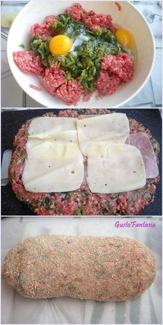Meat and Chard Meatloaf Veal Recipes, Dinner Recipes, Cooking Recipes, Healthy Recipes, I Love Food, Good Food, Beef Skillet Recipe, Bette, Fish And Meat