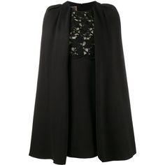 Giambattista Valli macrame lace cape dress (164.200 RUB) ❤ liked on Polyvore featuring dresses, black, giambattista valli, giambattista valli dress and crochet lace dress