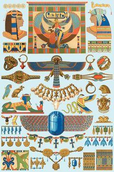 Auguste Racinet Egyptian jewelry art print.
