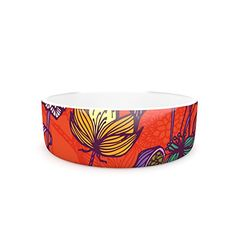 Kess InHouse Gill Eggleston Garden Blooms Hot Orange Pet Bowl 7Inch Red Floral -- See this great product.