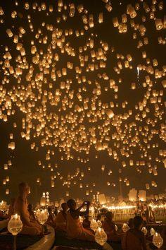 Lanterns floating in the sky, Chiangmai, Thailand. Loykrathong Festival.