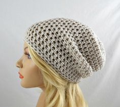 Beige Slouchy Beanie, Womens Crochet Slouchy Hat, Slouchy Winter Hat, Beige Crochet Beanie, Beige Crochet Hat - pinned by pin4etsy.com