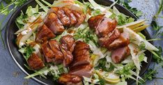 Sticky plum, ginger and five-spice glaze gives this crispy skin duck a Chinese-inspired makeover. Plum Sauce, Almond Chicken, Duck Recipes, Cabbage Slaw, Fresh Coriander, Small Meals, Frozen Peas, Just Cooking, Food Preparation