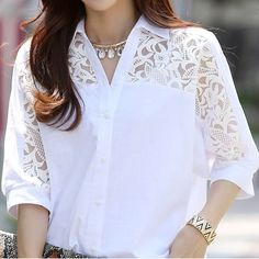 Women Clothing White Chiffon Lace Polo Shirts Plus Size Summer Shirt Size M Color 1 hashtags White Chiffon, White Lace, Lace Chiffon, Blouse Styles, Blouse Designs, Elisa Cavaletti, Summer Shirts, Look Fashion, Fashion 2018