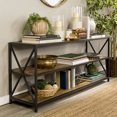 Augustus TV Stand for TVs up to 65 inches Augustus Media Etagere Bookcase Industrial Shelving Units, Wood Shelves, Industrial Style, Vintage Industrial, Metal Shelving, Pantry Shelving, Open Shelves, Large Console Table, Console Table Styling