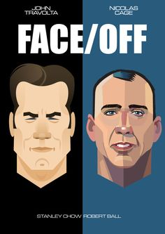 face off By Robert Ball & Stanley Chow Stanley Chow, Alternative Movie Posters, Alternative Art, Movie Poster Art, Film Posters, Minimal Movie Posters, Pop Culture Art, Minimalist Poster, Minimalist Art
