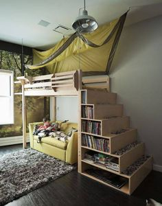 Boys bedroom. Bunk bed, love seat underneath, reading lounge nook, bookcase stairs, canopy, simple