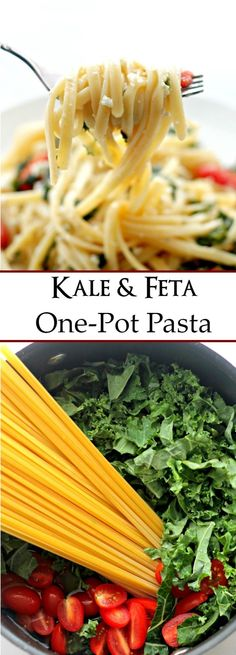 Kale and Feta One Pot Pasta - Healthy, quick and easy pasta dinner with Kale and Feta Cheese. Pasta Recipes, Real Food Recipes, Vegetarian Recipes, Cooking Recipes, Healthy Recipes, Healthy Dishes, Healthy Cooking, Healthy Eating, Pesco Vegetarian