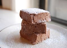 Chocolate Peppermint Marshmallows. Coco butter, sugar, egg whites, peppermint schnaps. Makes marshmallows