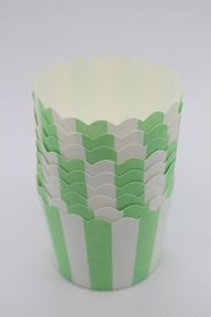 25 Green With White Striped Greeseproof Paper Baking Cups,Cake Cups,Cup Cake Cups,Muffin,Candy Cup,Nut Ice cream Treat Dessert Portion Cups, $3.99