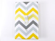 Chevron Light Switch Plate Cover in Yellow and Gray - Nursery, Child & Home Decor - Choose Your Color