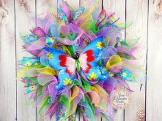 Spring Summer Deco Mesh Butterfly Wreath  by NOLACraftsbyDesign