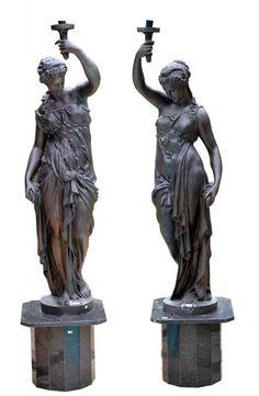 Ninfas Panateneias, par esculturas tocheiras bz/base granito, 40 e 166, tot. 200cm