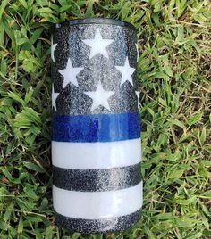 Blue Line Flag Glitter Tumbler – Mae Rose Boutique Diy Tumblers, Custom Tumblers, Glitter Tumblers, Glitter Cups, Blue Glitter, Glitter Girl, Glitter Dress, Diy Hanging Shelves, Rose Boutique