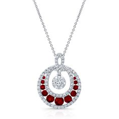 HIGH QUALITY NATURAL COLOR 18K WHITE GOLD CONTEMPORARY ROUND RUBY DIAMOND PENDANT DESIGNED WITH ROUND WHITE DIAMONDS, FEATURES 1.68 CARAT TOTAL WEIGHT