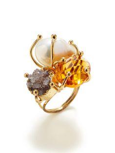 Alanna Bess Jewelry Jasper, Freshwater Pearl, & Zircon Ring: 14K yellow gold vermeil ring with jasper, baroque freshwater pearl, and yellow zircon details