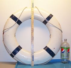 "BIG 28"" Vintage Blue & White Life Preserver Ring Float Buoy Boat Ship"