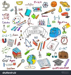 Happy Teachers Day Freehand Drawing School Items Back To School Hand Drawing Set Of School Supplies Sketchy Doodles…