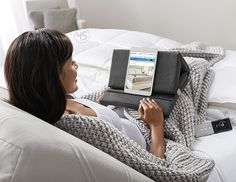 The #SleepNumber Tech-e™ pillow holds electronic devices at just the right angle for extra comfort. It can accommodate a variety of devices such as #tablets, small #laptops and #ereaders, and it can be opened or folded into several positions. No more propping your tablet up on your knees or trying to hold it steady!