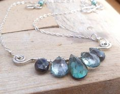 """Wire Wrapped Labradorite, Green Quartz Briolette Necklace, Sterling Silver- total desired length (of chain & bar pendant) 17"""" so stones should be proportionate, maybe 3"""" for bar pendant?"""
