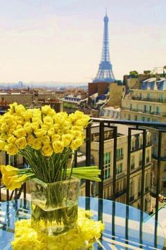 Yellow roses, Paris, beautiful view...gorgeous! | It Was All Yellow     ᘡղbᘠ