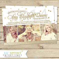 Modern Gold Confetti Graduation Announcement by lilsproutgreetings