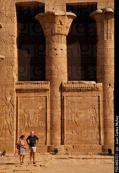 Temple of Horus. Edfu. Nile Valley. Egipt.  Looks like grandma and grandpa  Funny