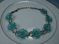 Vintage Blue Flower Bracelet with Rhinestone by SecondWindShop, $5.00
