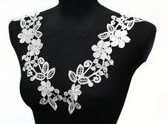 2 PCS Floral Lace Crochet Yoke Applique for Shirt Blouse Dress #laceapplique #lacecollar
