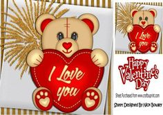 I love you brown teddy bear with red heart 8x8 on Craftsuprint - Add To Basket!