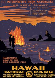 Hawaii Volcanoes National Park ~ Vintage travel poster for the Big Island's Kilauea Volcano. Hawaii National Parks, Hawaii Volcanoes National Park, Volcano National Park, Wpa National Park Posters, Keep Calm, Wpa Posters, Train Posters, Washington State Parks, Surf