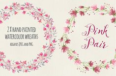 Watercolor wreaths: pink pair by Lolly's Lane Shoppe on Creative Market
