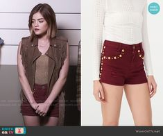 Aria's red studded shorts on Pretty Little Liars.  Outfit Details: https://wornontv.net/56276/ #PLL