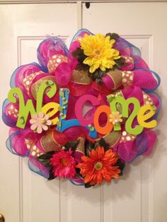 Colorful poly deco mesh wreath.