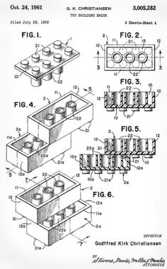 Lego Patent drawing - The toy world changed on January 1958 at p. On that day, the modern LEGO brick was patented, and the rest is playtime building history. Did you know that these first sets of LEGOs remain compatible with bricks produced today? Vintage Lego, Art Vintage, Lego Patent, Us Patent, Patent Pending, Design Industrial, Lego Room, Patent Drawing, Lego Brick