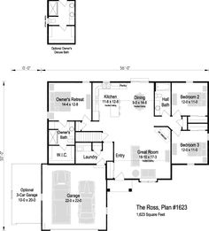 The Ross, Plan 1623 | 1,623 sq ft | 3 bedroom | 2 bath Square Feet, Great Rooms, Ranch, House Plans, Floor Plans, Flooring, How To Plan, Bedroom, Guest Ranch
