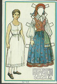 Female Costume Medelstads Harad Blekinge Sweden Vintage Swedish Paper Doll | eBay