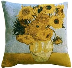 Van Gogh Sunflowers Throw Pillow from Pillow Décor Floral Throw Pillows, Throw Pillow Sets, Outdoor Throw Pillows, Decorative Pillows, Vase With Twelve Sunflowers, Van Gogh Sunflowers, Indoor Flowers, Dot And Bo, Painting