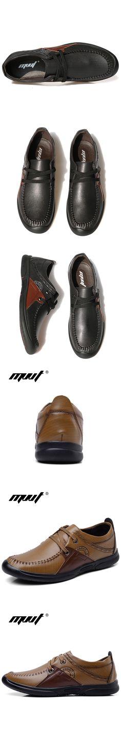 MVVT Autumn New Genuine Leather Casual Shoes Men Fashion Patchwork Men Flats Sale Men Shoes Foot Wear