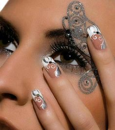 Bridal Silver and White ornaments on Nails and a Lace Silver Makeup