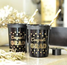 Black & gold Graduation party cups accented with polka dots for your guests to sip drinks with glam! Perfect for party favors too as they are reusable. We love party fun! Fabulous Features: - Sold in Grad Party Decorations, Graduation Party Themes, College Graduation Parties, Grad Parties, Graduation Ideas, Graduation Gifts, Graduation 2016, Graduation Quotes, Graduation Celebration