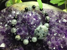 All Natural Stone Bracelet. Labradorite With Tourmaline In Quartz and Onyx! Angelic Reiki Infused!